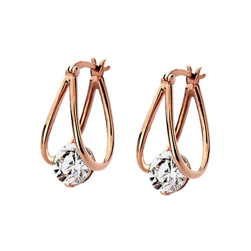 Platinum, 14K Gold or Rose Gold Plated Earrings, CZ Stone Hoop Style for Women
