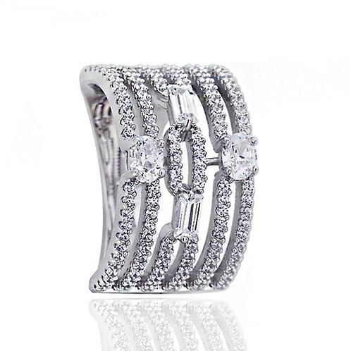 Platinum Plated Silver Oval & Baguette CZ Art Deco Design Ladies Ring