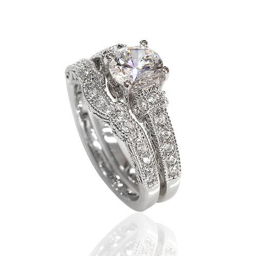 Diamond Simulant Engagement Ring Set Women, Vintage Silver Bridal Wedding Ring