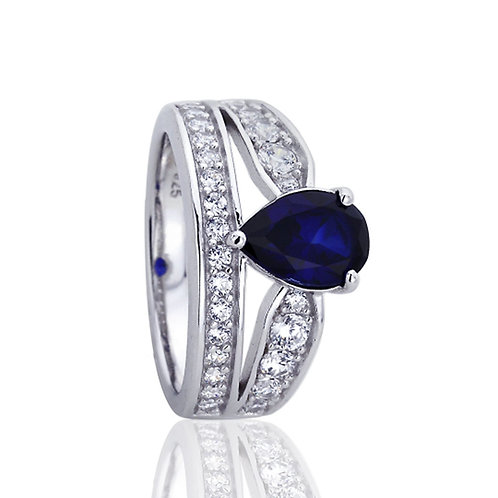 Platinum Plated Silver Sapphire Pear CZ Wedding Engagement Ring Set for Women