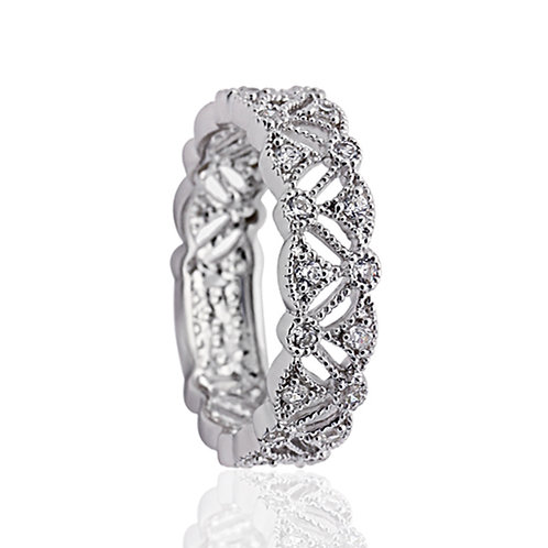 Simulated Diamond Ring, Wide Silver Band, Vintage Stackable Ring for Women
