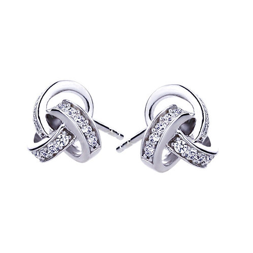 Rhodium Plated Sterling Silver CZ Celtic Love Knot Stud Earrings for Women
