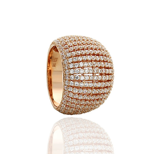 Sterling Silver 14K Rose Gold Plated CZ Pave High Domed Hand Ring for Women