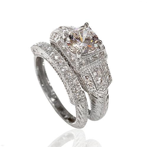 Simulated Diamond Engagement Ring Set, Bold Vintage Silver Bridal Wedding Ring