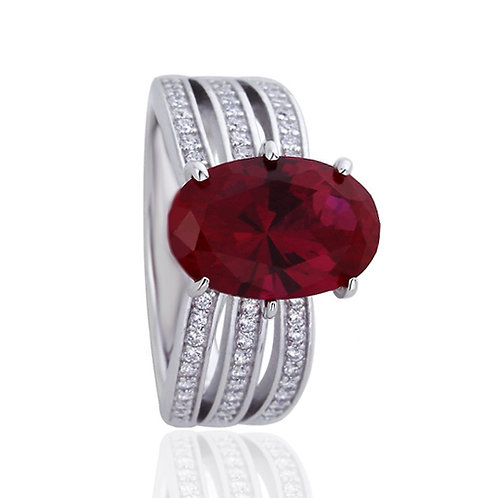 Platinum Plated Silver Simulated Ruby Oval CZ Wedding Engagement Ring for Women