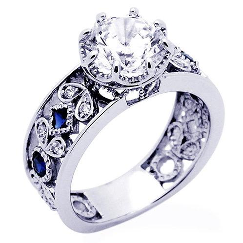 Silver Octagon Cut Diamond Simulant Blue Sapphire Accent Filigree Vintage Ring