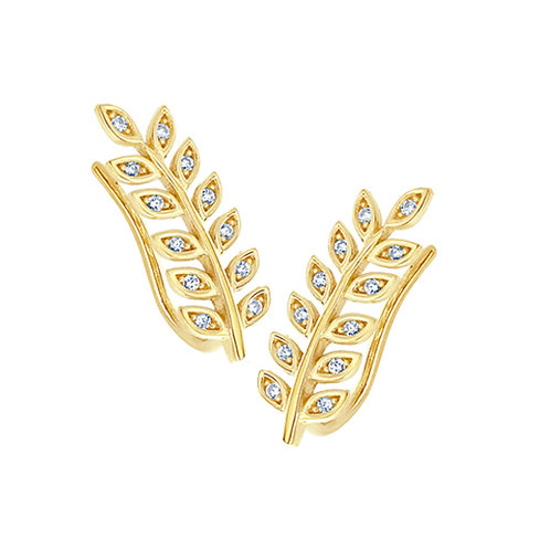 14k Yellow Gold Plated Silver Round CZ Pave Set Leaf Ear Cuffs for Women