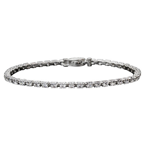 "7.5"" Rhodium Plated Silver 3 mm Princess Square Stone, Tennis Bracelet for Women"