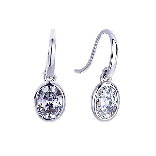 Platinum Plated Sterling Silver Oval Cut CZ Bezel Dangle Earrings for Women