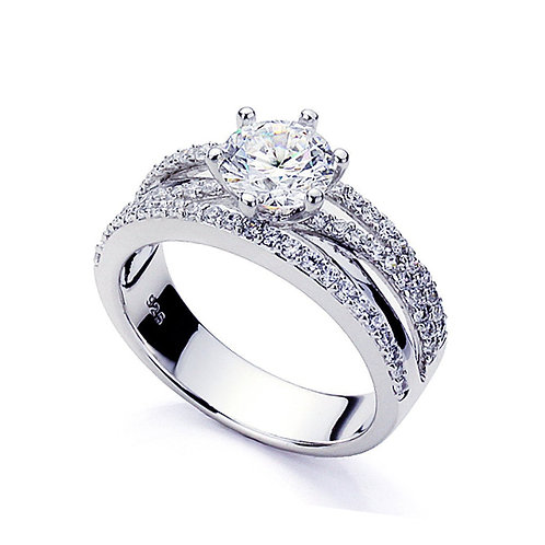 Platinum Plated Sterling Silver CZ Solitaire Wedding Engagement Ring for Women
