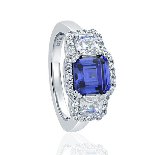 Simulated Three Stone Tanzanite CZ, Silver Wedding Ring, Asscher Cut for Women