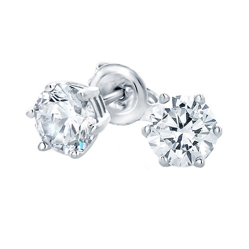 6 Prong Sterling Silver Diamond Simulant Solitaire Stud Earrings for Women