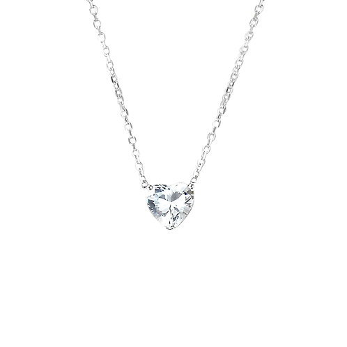 Sterling Silver Diamond Simulant Heart Shape CZ Stone Solitaire Pendant Necklace