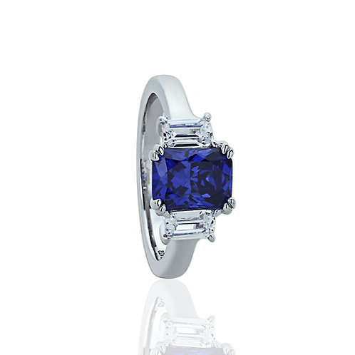 Sterling Silver Emerald Cut Simulated Tanzanite Wedding Ring for Women