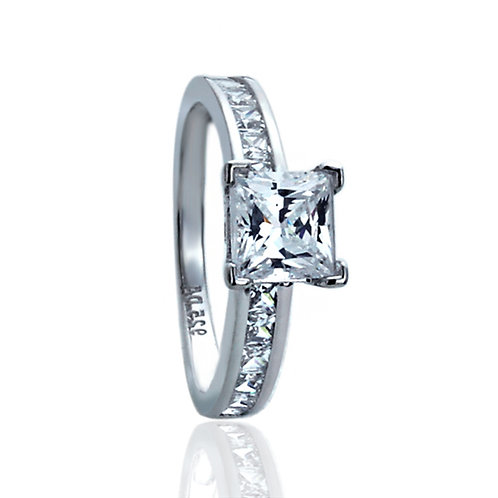 Sterling Silver Wedding Ring Princess CZ Stone Channel for Women