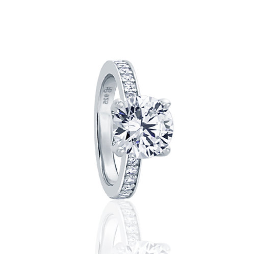 Sterling Silver CZ Channel Setting Wedding Engagement Ring for Women