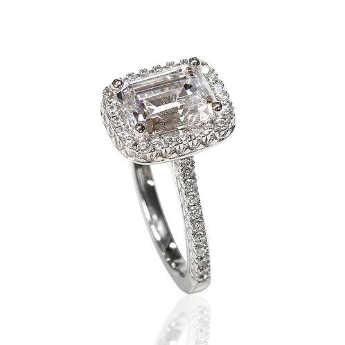 Diamond Simulant Engagement Ring, Platinum Plated Emerald Silver Wedding Ring