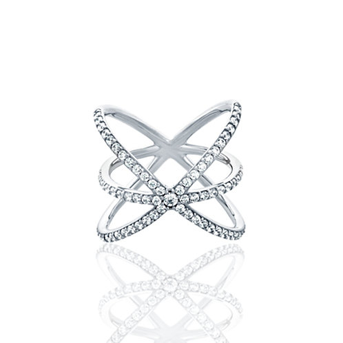 Sterling Silver 18 mm Round CZ Criss Cross Ring Band for Women