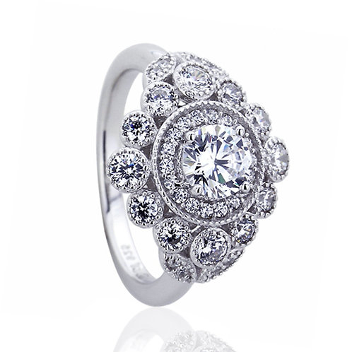 Platinum Plated Silver CZ Halo Vintage Wedding Engagement Ring for Women