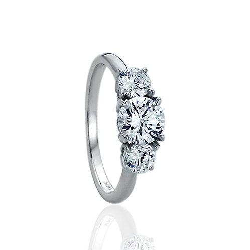 Solid 14K White Gold Round CZ Three Stone Wedding Anniversary Ring for Women