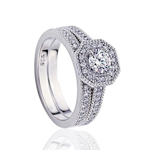 Platinum Plated Silver 0.5 Carat CZ, Vintage Bridal Ring Set for Women