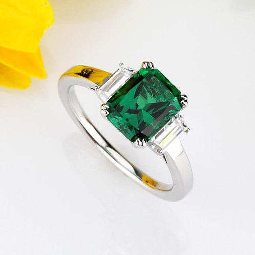 925 Sterling Silver Radiant Cut Simulated Emerald SIMULANT Stone Baguette Ring