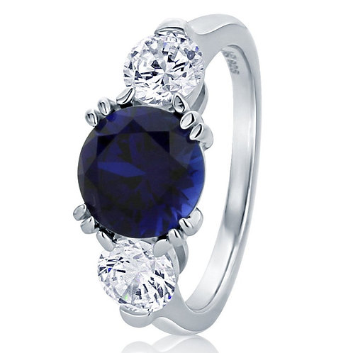 Simulated Blue Sapphire diamond 3 Stone classic design 925 Sterling Silver Ring