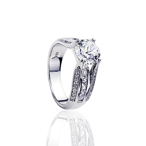 Platinum Plated Sterling Silver CZ Diamond Simulant Engagement Ring for Women