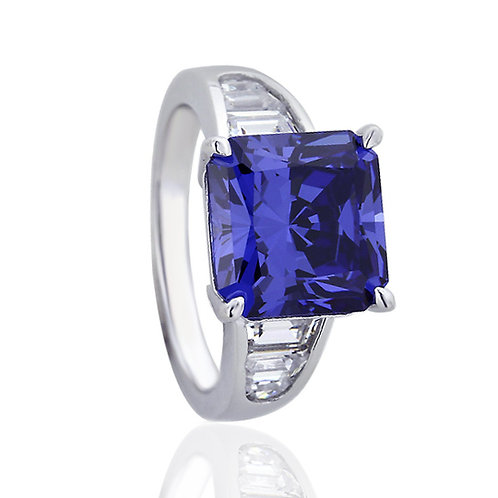 Platinum Plated Silver Simulated Tanzanite Princess CZ Cocktail Ring for Women