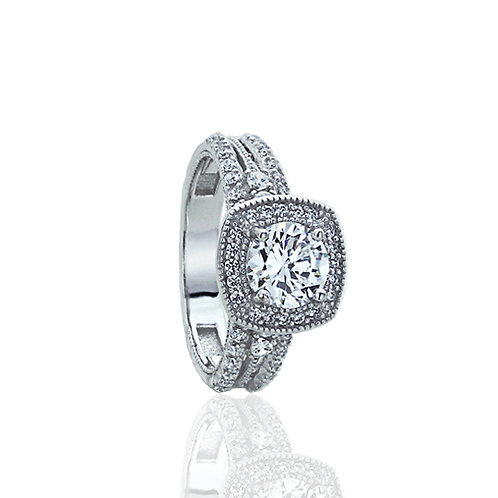 Sterling Silver CZ Vintage Style Halo Engagement Ring for Women