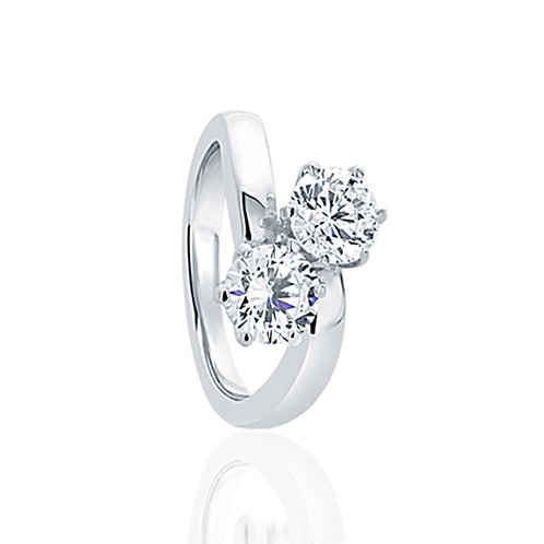 Sterling Silver Round CZ Two-Stone Diamond Simulant Engagement Ring for Women