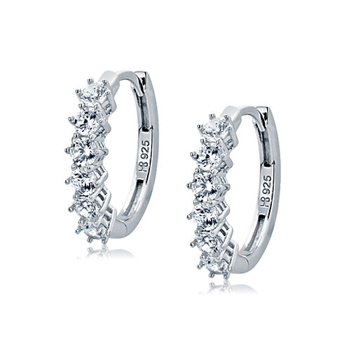 Rhodium Plated Sterling Silver, Round CZ Prong Set Hoop Earrings for Women