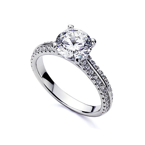 Diamond Simulant Engagement Ring, Platinum Plated Silver Double Row Wedding Ring