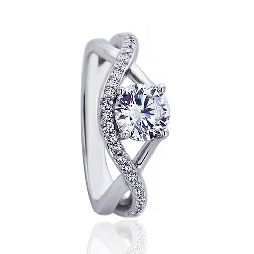 Platinum Plated Silver Simulated Diamond CZ Bypass Infinity Band Ring for Women