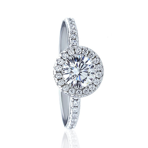 Platinum Plated Silver 16 Cupid Diamond Simulant CZ Halo Wedding Ring for Women
