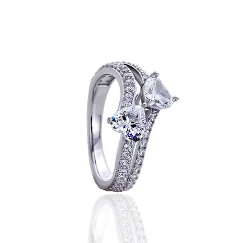 Sterling Silver Rhodium Plated Heart CZ 2 Stone Bypass Promise Ring for Women