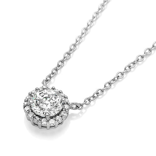 Simulated Diamond Round Halo CZ, Sterling Silver Pendant Necklace for Women