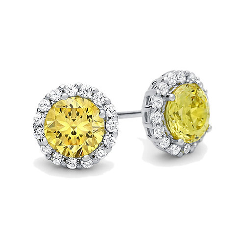 Rhodium Plated Sterling Silver Round Yellow CZ Halo Stud Earrings for Women