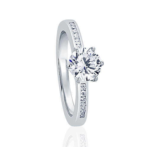 Silver Wedding Solitaire Ring, Round CZ Diamond Simulant Channel Set for Women
