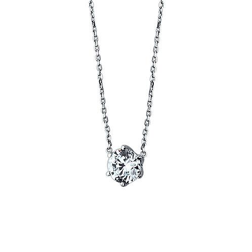 Silver Necklace, Round CZ Solitare Stone Choker Chain Diamond Simulant Pendant