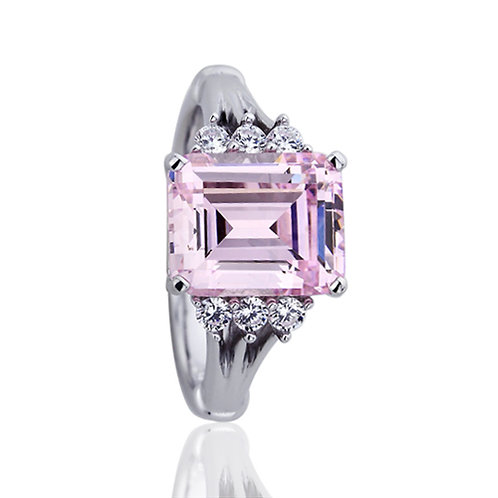 Sterling Silver Emerald Cut Super Light Pink CZ Engagement Ring for Women