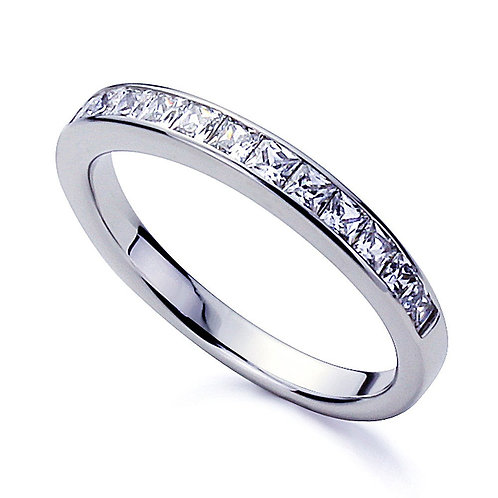 Classic Design STERLING Silver Ring CZ Diamond simulant Stone Channel Set Band