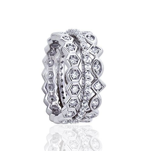 Stackable Platinum Plated CZ Silver Band Wedding Engagement Ring Set for Women