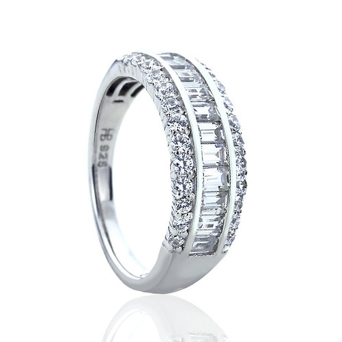 Platinum Plated Silver 0.8 Carat Baguette CZ, Channel Wedding Ring for Women