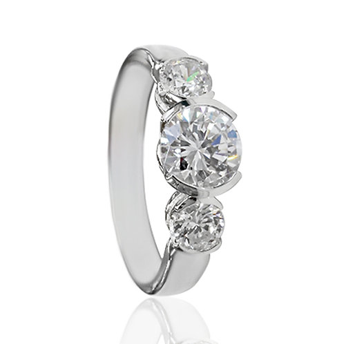 Platinum Plated Silver Round Stone Modern Half Bezel Engagement Ring for Women