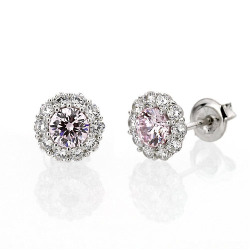 Platinum Plated Sterling Silver Super Light Pink CZ Halo Stud Earrings for Women