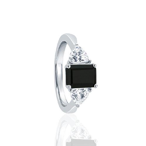 Sterling Silver Wedding Ring Emerald Cut Black CZ 3 Stone Ring for Women