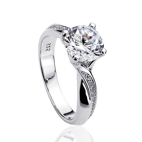 Classic Design Bypass Design 2 Carat CZ Stone Solitaire Engagement Silver Ring