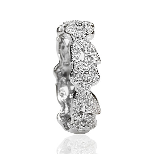 Simulated Diamond Ring, Silver Flower and leaf Vintage Style Ring Set for Women