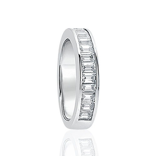 Sterling Silver Baguette Wedding Ring CZ Channel Design for Women